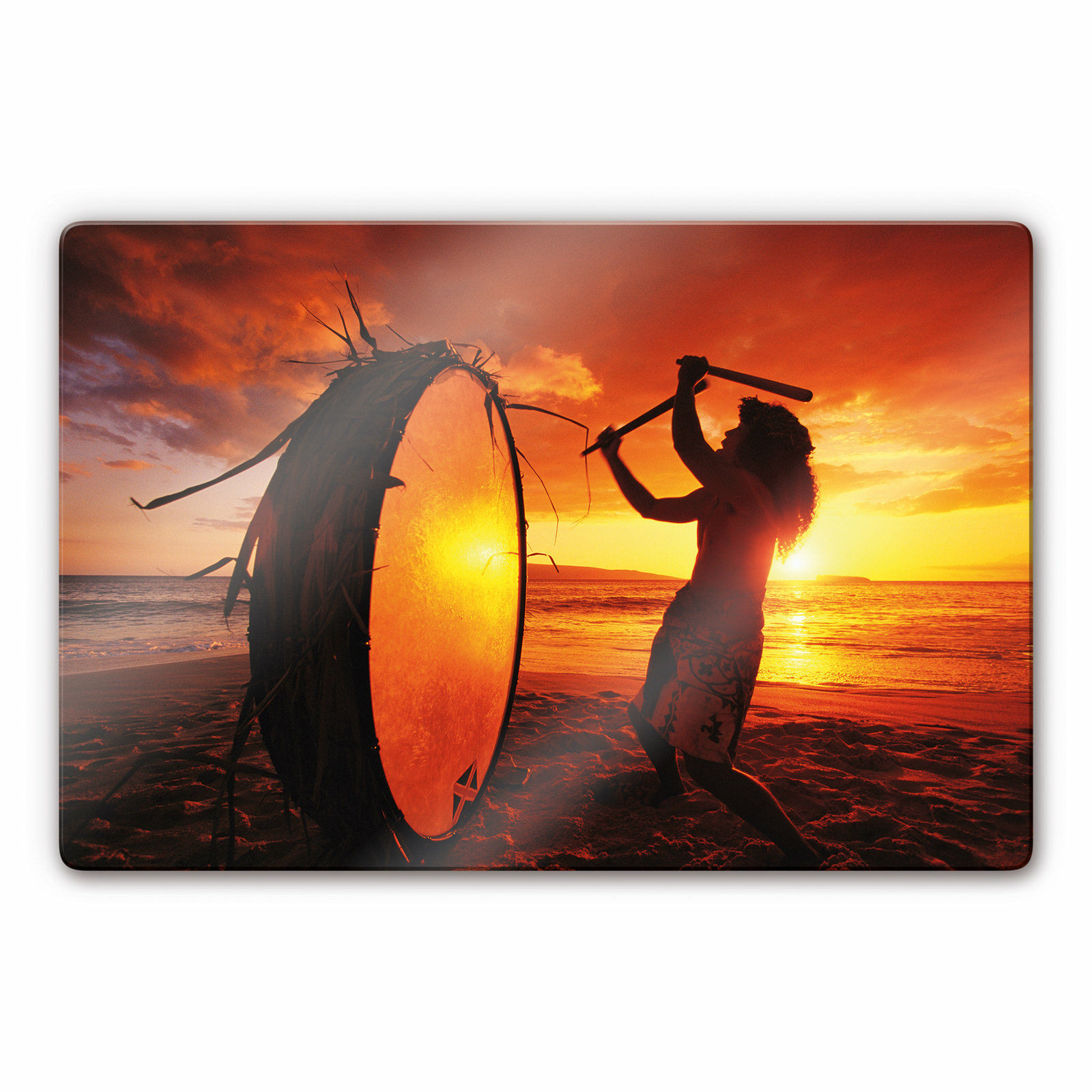 Glass Picture NG Hawaiian Drummers rouge Wall picture ESG safety glass deco