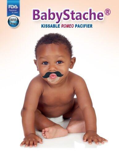 BabyStache Kissable Baby Pacifier ROMEO Black Child Infant Shower Gift