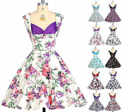 50s 60s Vintage Retro Cocktail Evening Swing Pinup Floral Dress Party Jive Dress