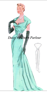 Vintage 1950s Evening Gown Sewing Pattern Wedding Dress Prom