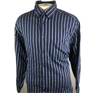 Bugatchi-Uomo-Mens-Blue-Long-Sleeve-Button-Front-Shirt-Size-Xl-P