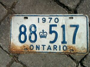 Vintage 1970 Ontario ON Canada Vehicle License Plate White Blue~ POOR 88 517