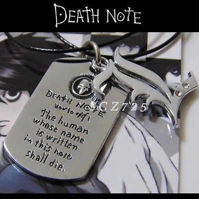 "1x Anime Death Note symbol ""L"" design double pendants alloy metal necklace!"