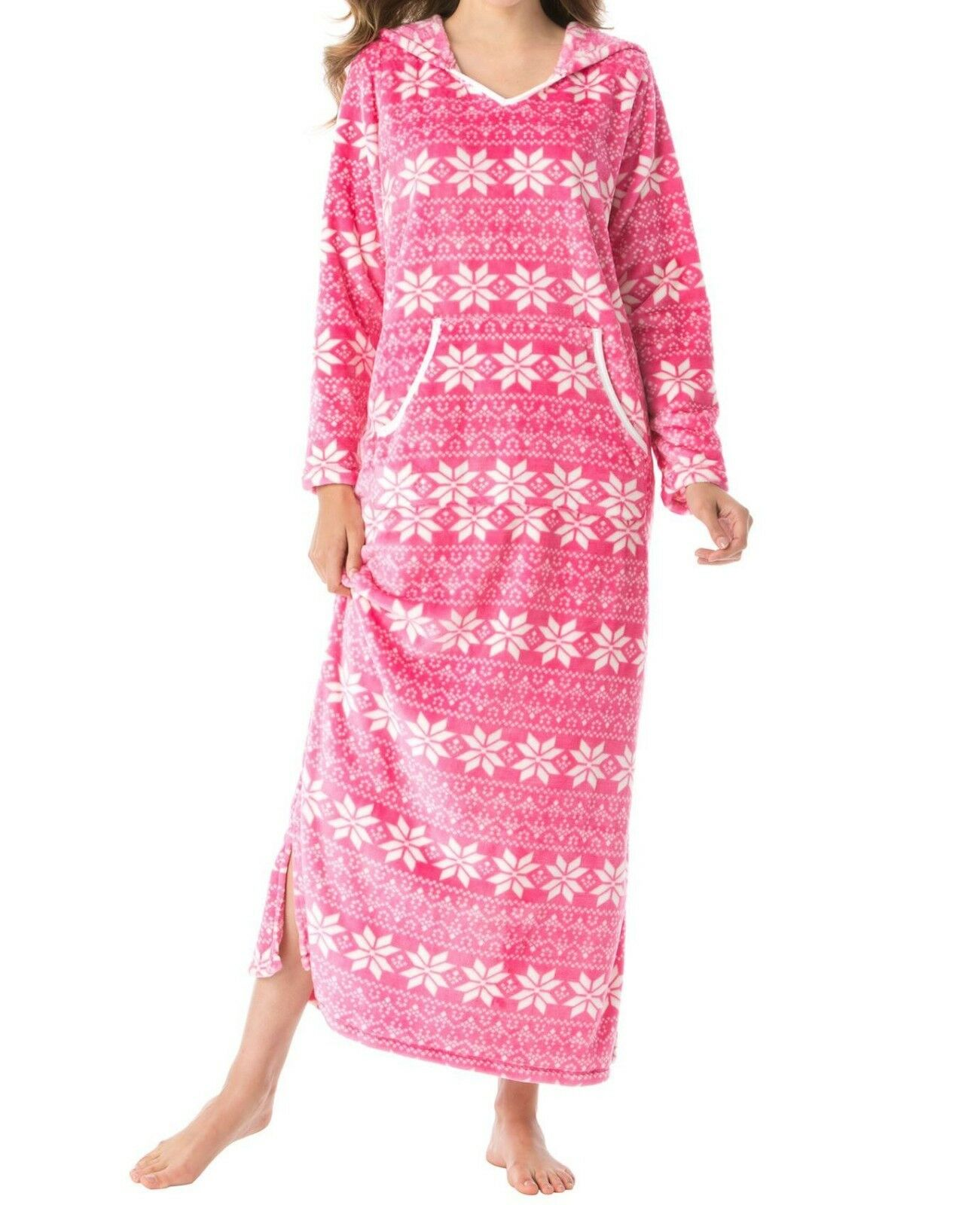 Dreams & Co. Plus Size Sweetberry Fair Isle Plush A-Line Hooded Lounger Size 4X