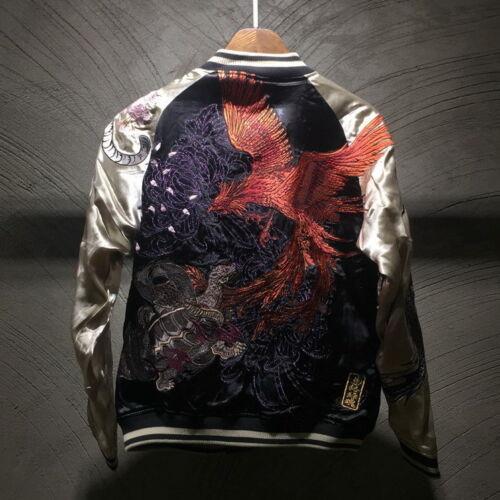 Mens Souvenir Jacket Japanese Pattern Embroidery Sukajan REVERSIBLE Dragon Tiger