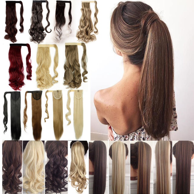 Real 100% Natural Thick Human Clip in ponytail hair extensions Wrap Pony tail AI