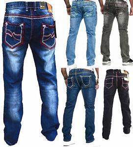 Herren-Jeans-Hose-Denim-KC-Black-Washed-Straight-Cut-Regular-Dicke-Naht-naehte