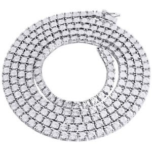 White-Diamond-1-Row-Necklace-Chain-925-Sterling-Silver-36-034-Bezel-Set-1-3-CT