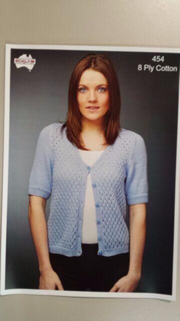 Heirloom Knitting Pattern 454 To Knit Ladies Short Sleeve Cardigan