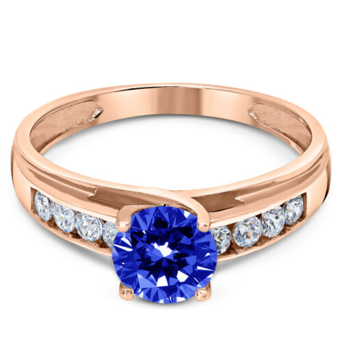 14K Solid Pink Rose Gold Lab Created Sapphire Solitaire Engagement Ring 1.00 Ct.