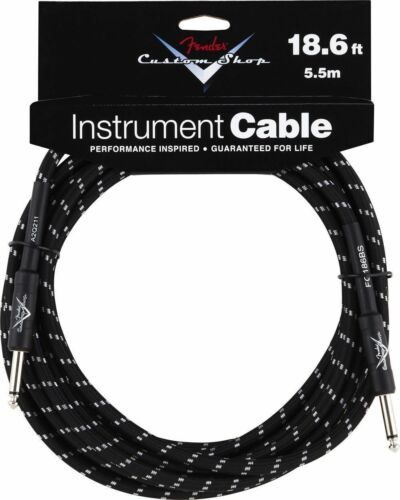 New Fender Custom Shop 18.6 Ft Black Tweed Instrument Guitar Cable 18 Foot Lead