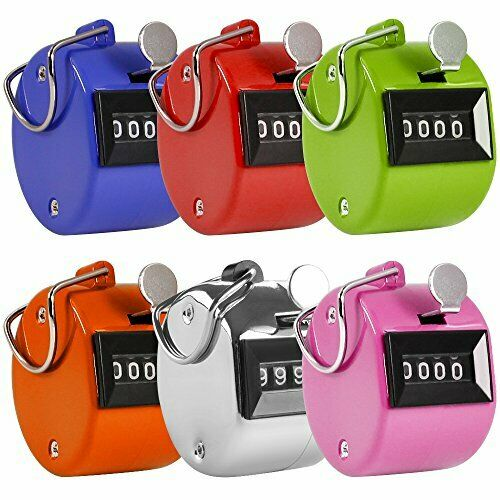 AFUNTA Pack de 6 Color Hand Held Tally Counter 4 Chiffres mécanique PALM CLICKER
