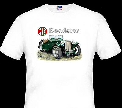MG  TC   ROADSTER    QUALITY WHITE TSHIRT 4 CAR COLOURS BIG FIT