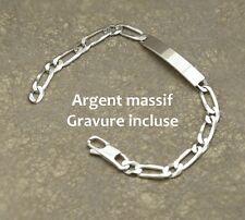 Bracelet Gourmette pour homme En Argent Massif 925 Avec Gravure gratuite incluse