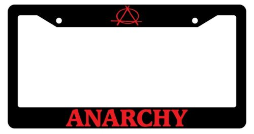 Black License Plate Frame Anarchy Red Auto Accessory 636