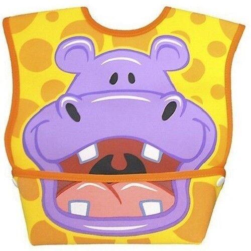 6-24 months Dexbaby Big Mouth Hippo Leak-Proof Dura Bib w// Catch-All Pocket
