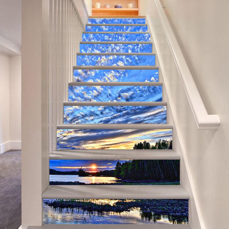3D Morgen Meer 645 Stair Risers Dekoration Fototapete Vinyl Aufkleber Tapete DE