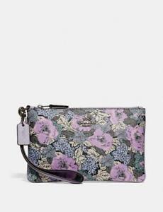 Coach-Coated-Cavnas-Lilac-Soft-Multi-Floral-Wristlet-Heritage-Print-Bag-Wris-New