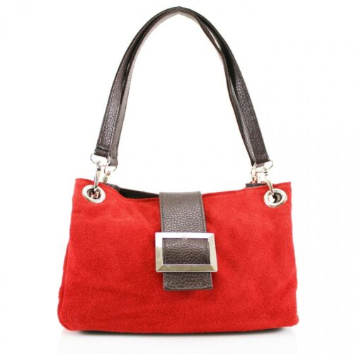 New Women Real Italian Suede Leather Buckle Shoulder Bag Ladies Party Hand Bag