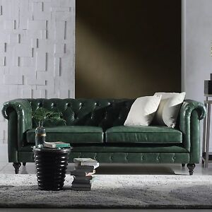 86L Restoration Chesterfield Industrial Genuine Top Grain Green Leather Sofa