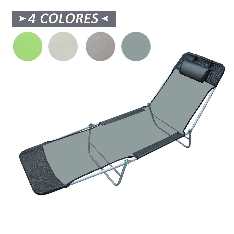 s l1600 - Tumbona Inclinable de Acero Plegable con Almohada Playa Piscina Varios Colores