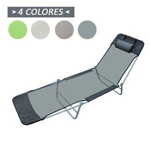 Tumbona-Inclinable-de-Acero-Plegable-con-Almohada-Playa-Piscina-Varios-Colores