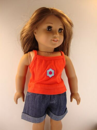 Red Thin Strapped Shirt /& Jean Shorts Designed for 18 Inch Dolls