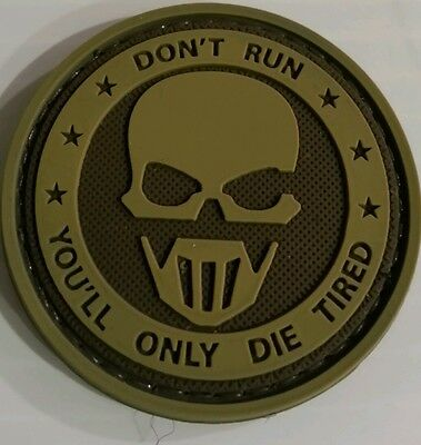 SKULL 3D PVC MORALE PATCH (dont Run) TACTICAL AIRSOFT PAINTBALL