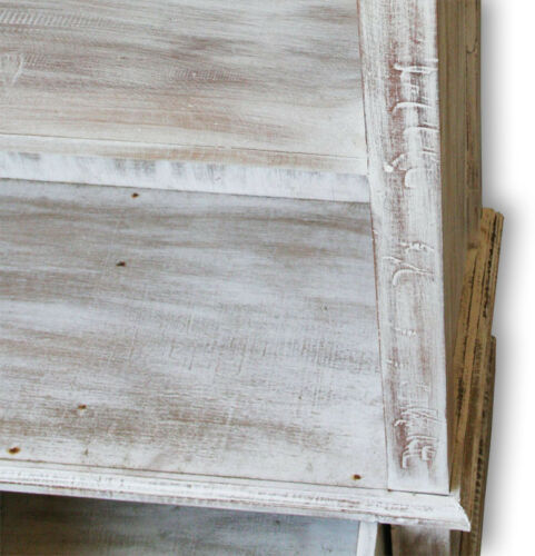 KMH® Bücherregal Bücherschrank Holzregal Dielenschrank weiss Holz antik massiv