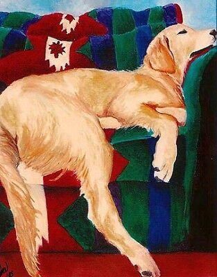 11x14 Golden Retriever Dog Art PRINT of Painting VERN