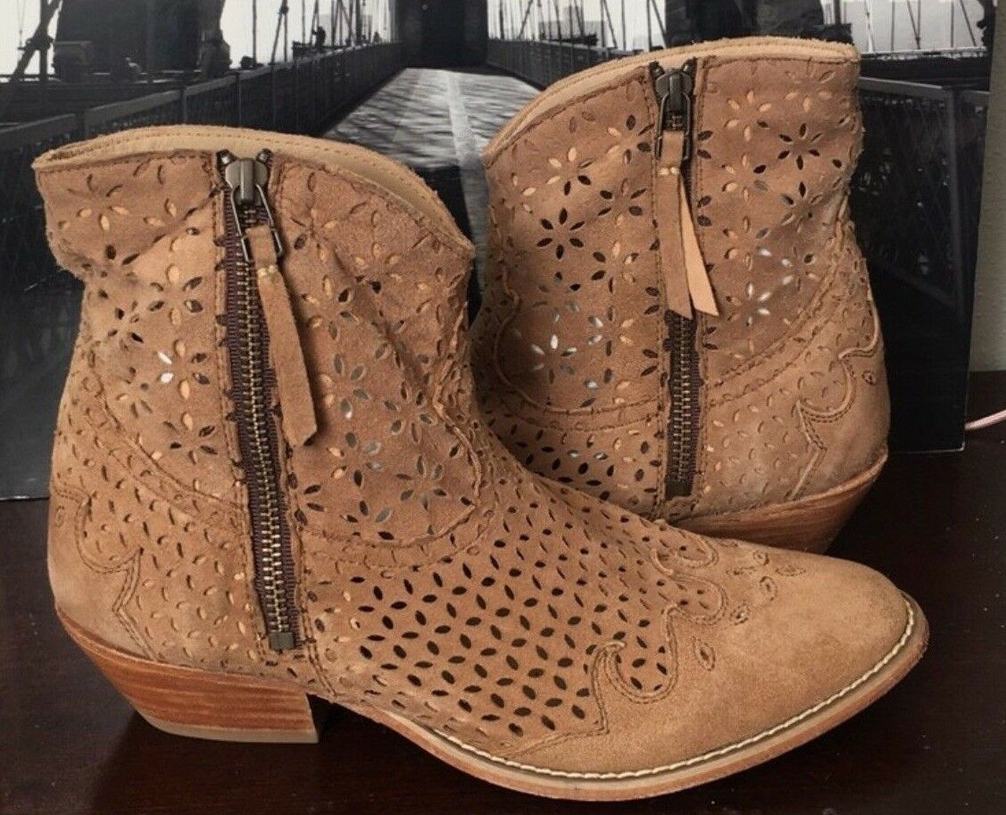 Free People Baske California Bandit Tan Leather Perforated Ankle Booties