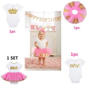 iEFiEL Baby Girls 1st Birthday Party Mermaid Three-Piece Outfit Short Sleeve Cotton Romper Tutu Skirt Headband Set