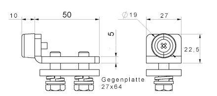 sporgente verso schiebetor fienile Attentato per termini ferrovia 34x33 e 42x54 mm
