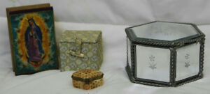 Beveled Glass 4 5 Jewelry Box Mother Mary Wood Box Carved Bone Pill Boxes Ebay
