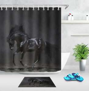 Image Is Loading Black Horse Running Waterproof Fabric Shower Curtain Hook