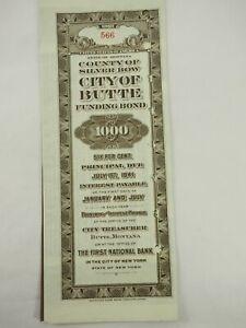 1921-Montana-County-di-Argento-Arco-Citta-di-Butte-Funding-Bond-con-Coupons