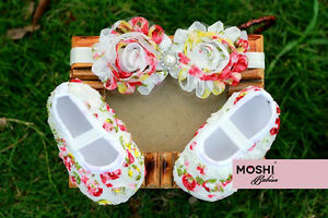 Baby-Girl-Floral-Shoe-and-Headband-Set-White-Pearl-and-Diamante-by-Moshi-Babies