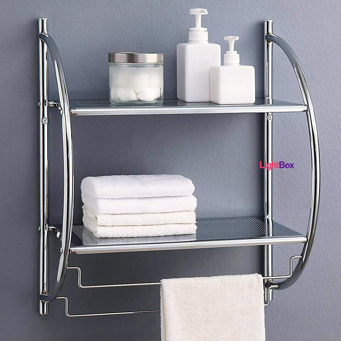 Towel Rack 2 Levels Bathroom Shelf Wall Mounted Storage Organizer Chrome Toilet For Sale Online