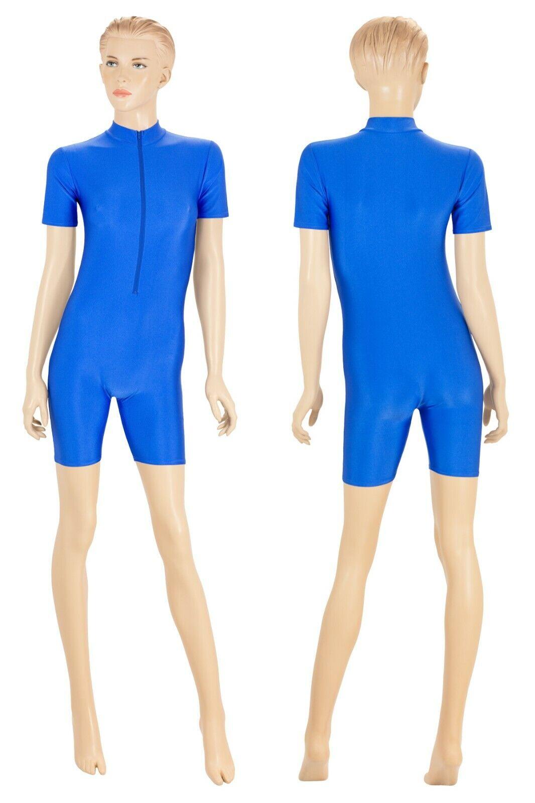 Damen Ganzanzug kurze Ärmel und Beine Kragen Front-RV Glanz stretch shiny S - XL  | Hochwertige Materialien