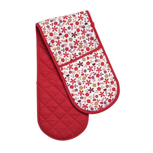 Red daisy four double gant 100/% coton matériel de cuisine cuisson nouveau