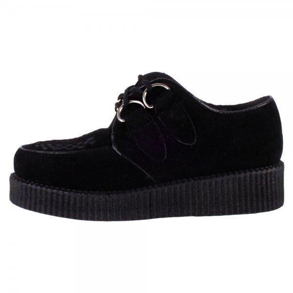 Truffe nouveau noir faux daim basse creepers femme vegan chaussures punk rock FRE1