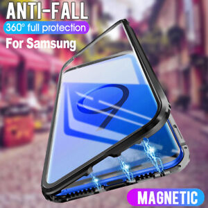 Huelle-Samsung-Galaxy-S8-S9-S10-Plus-360-Magnet-Glas-Case-Handy-Tasche-Schutz