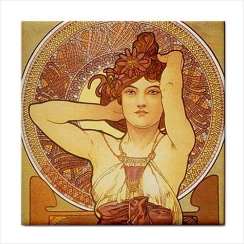 Amethyst Woman Female Art Nouveau Alphonse Mucha Decorative Ceramic Tile