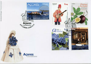 Portugal-Tourism-Stamps-2020-FDC-Azores-Fruits-Flowers-Music-Whales-5v-S-A-Set