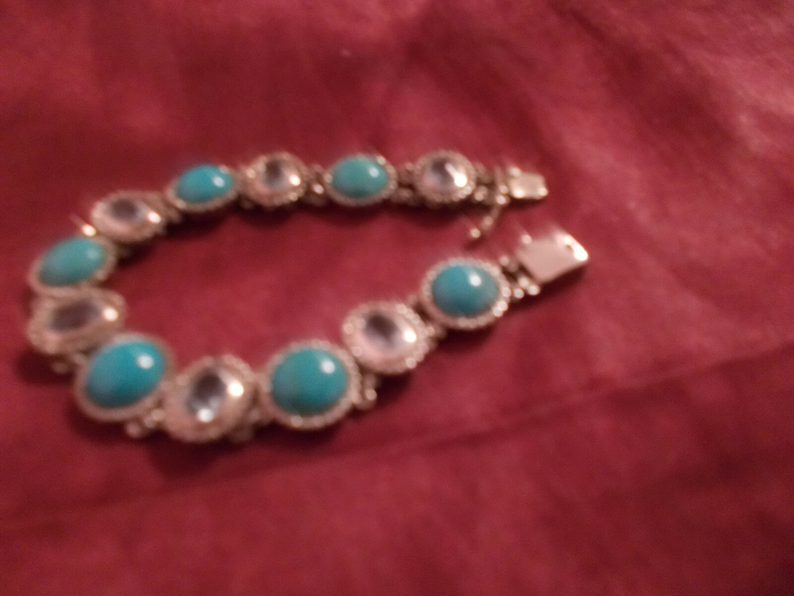 BIG TURQUISE AND blueE TOPAZ QVC BRACELET 7.5 INCHES USED