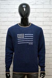 WOOLRICH-Uomo-Taglia-Size-L-Maglione-Lana-Pullover-Cardigan-Sweater-Man-Blu