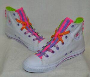 0a0643b44feb Converse Girl s CT All Star Loopholes High-Top White Bold Lime ...