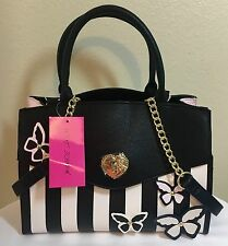 BETSEY JOHNSON Lady Satchel Crossbody Handbag Butterflies Purse BK/W NWT $118.