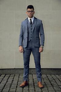 Mens-Tweed-3-Piece-Suit-Cavani-Blazer-Waistcoat-Trousers-Checked-Peaky-Blinders