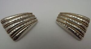 Rare-925-Sterling-Silver-Diamond-Cut-Two-Tone-Shell-Style-Clip-Back-Earrings